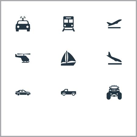 요소 요트, 헬기, 다운 그레이드 및 기타 동의어 경찰, 비행기 및 Whirlybird. 벡터 일러스트 레이 션 간단한 배송 아이콘의 집합입니다. 일러스트