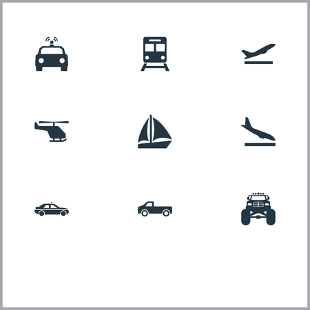 Elements Yacht, Chopper, Downgrade And Other Synonyms Police, Plane And Whirlybird.  Vector Illustration Set Of Simple Shipment Icons.