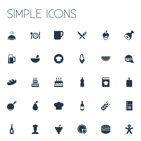 Illustration Set Of Simple Food Icons. Elements Christmas Cookies, Hot Dish, Loaf And Other Synonyms