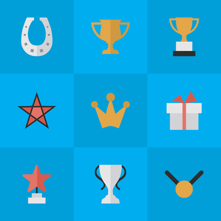 Illustration Set Of Simple Achievement Icons. Elements Star, Goblet, Medal And Other Synonyms Gold, Medal And Star.