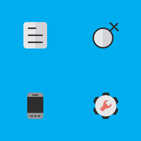 Illustration Set Of Simple UI Icons. Elements Document, Female, Mobile Phone And Other Synonyms Sign, Tools And Woman.