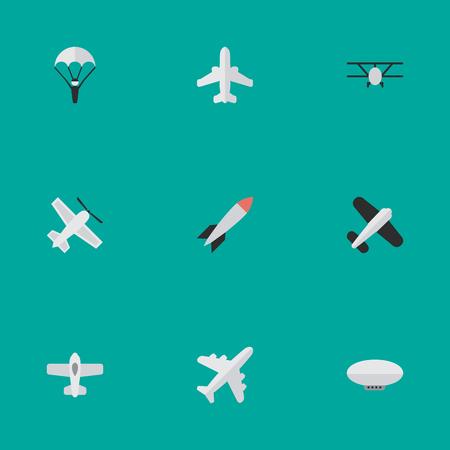 シンプルな平面アイコンのイラスト セット。要素の風船、カタパルト、クラフト、他類義語ロケット車と飛行。