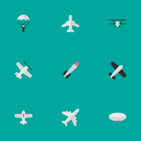 Illustration Set Of Simple Plane Icons. Elements Balloons, Catapults, Craft And Other Synonyms Rocket, Vehicle And Flying.