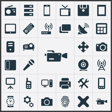 Elements Touchpad, Clock, Switch And Other Synonyms Station, Antenna And Remove. Illustration