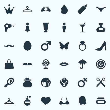 Illustration Set Of Simple Beauty Icons. Çizim
