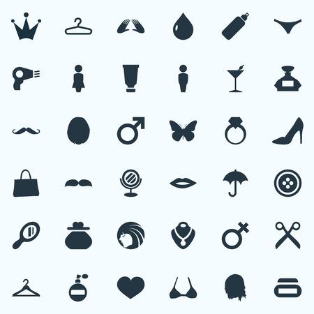 Illustration Set Of Simple Beauty Icons. Illustration