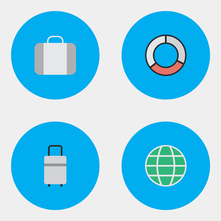 Elements Baggage, World, Bag And Other Synonyms Lifebelt, Planet And Luggage.  Vector Illustration Set Of Simple Relax Icons.  Illustration