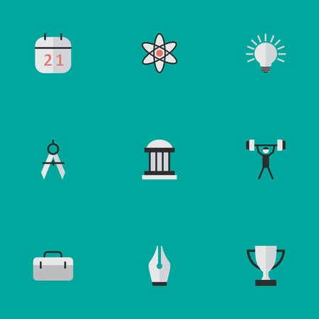 Elements Goblet, Date Block, Bulb And Other Synonyms Bodybuilding, Pen And Compass.  Vector Illustration Set Of Simple Education Icons.
