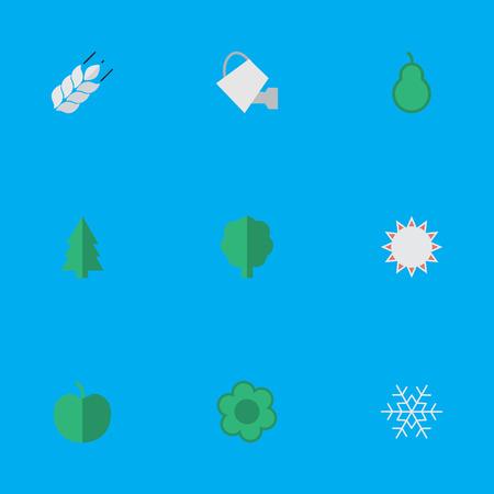 요소 써니, 나무, 펀칭 가방 및 다른 동의어 플레이크, 나무와 애플. 벡터 일러스트 레이 션 간단한 정원 아이콘의 집합입니다.