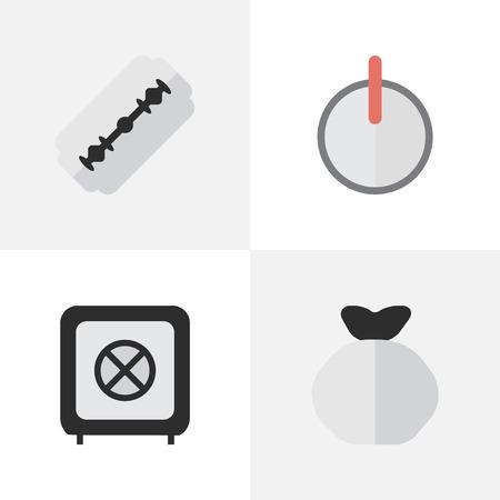 요소 Moneybox, 금고, 블레이드 및 기타 동의어 금고, 자루 및 암호. 벡터 일러스트 레이 션 간단한 범죄 아이콘의 집합입니다.