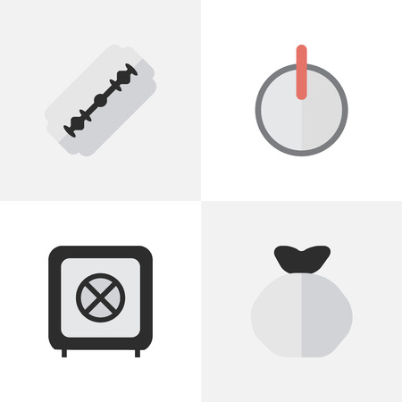 Elements Moneybox, Vault, Blade And Other Synonyms Vault, Sack And Password.  Vector Illustration Set Of Simple Criminal Icons.  Illustration