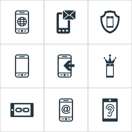 Elements Inbounding, Smart Appliance, Worldwide Net And Other Synonyms Email, Royal And Menu.  Vector Illustration Set Of Simple  Icons.