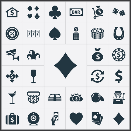 Elements Poker, Jester, Pay And Other Synonyms Buffoon, Cube And Clubs.  Vector Illustration Set Of Simple  Icons.  Ilustração