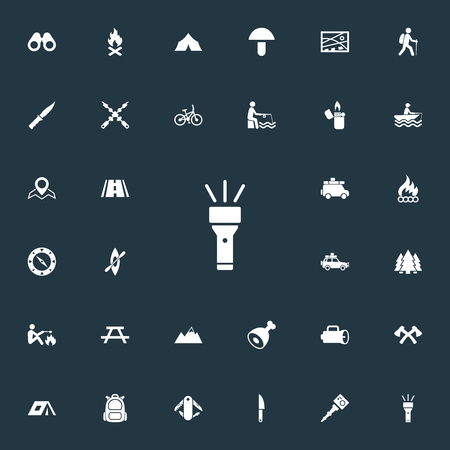 Elements Flame, Campfire, Fishing And Other Synonyms Navigation, Canvas And Woods.  Vector Illustration Set Of Simple Outdoor Icons.