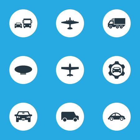 Elemente Automotive, Van, Airliner und andere Synonyme Blimp, Public Und Car. Vektor-Illustration Satz von einfachen Versand-Icons. Standard-Bild - 83791746