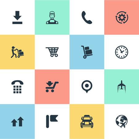 Elementen Truck, Interval, Shopping Trolley en andere synoniemenverzending, punt en navigatie. Vectorillustratiereeks Eenvoudige Techniekpictogrammen. Stock Illustratie