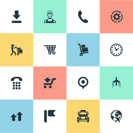 Elements Truck, Interval, Shopping Trolley And Other Synonyms Shipping, Point And Navigation.  Vector Illustration Set Of Simple Engineering Icons. Stock Vector - 83791747