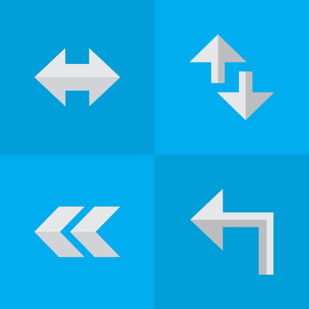 Elements Everyway, Cursor, Back And Other Synonyms Everyway, Alert And Rearward.  Vector Illustration Set Of Simple Arrows Icons.