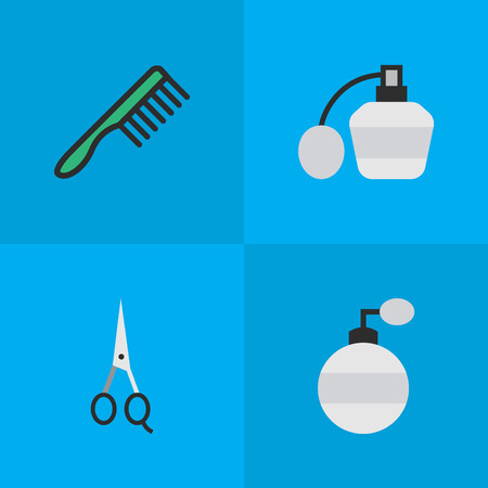 barber: Elements Hairbrush, Scissors, Perfume And Other Synonyms Scissors, Comb And Hairbrush.  Vector Illustration Set Of Simple Hairdresser Icons.