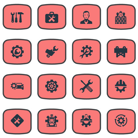 Elements Tool Case, Workman, Gear And Other Synonyms Renovation, Builder And Hammer.  Vector Illustration Set Of Simple Mending Icons.