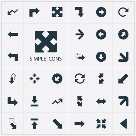 Elements Refresh, Advancement, Transfer And Other Synonyms Four Directions Arrows, Retrogression And Arrowheads.  Vector Illustration Set Of Simple Indicator Icons.