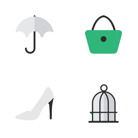 Elements Birdcage, Heel, Woman Bag And Other Synonyms Shoe, Cage And Heel.  Vector Illustration Set Of Simple Instrument Icons.