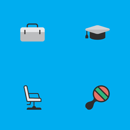Elements Armchair, Briefcase, Racket And Other Synonyms Racket, Handbag And Graduation.  Vector Illustration Set Of Simple Knowledge Icons.