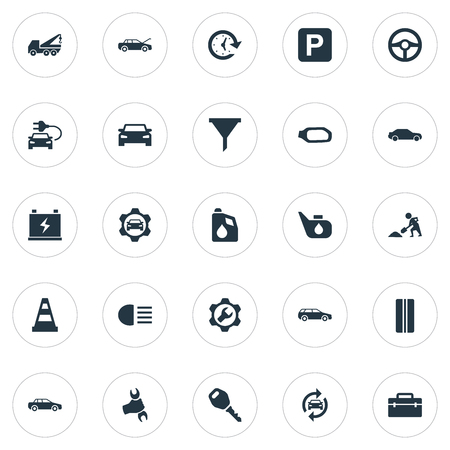 Elements Wheel, Workshop, Filter And Other Synonyms Beam, Mechanic And Tire.  Vector Illustration Set Of Simple Auto Icons. Çizim