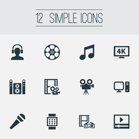Elements Spectacles, Mike, Movie Streaming And Other Synonyms Cinema, Reel And Tripod.  Vector Illustration Set Of Simple Multi Icons.