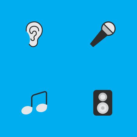 要素マイク、スピーカー、音楽記号、他の同義語のアンプ、マイク、耳します。 シンプルなアイコンのベクター イラスト セット。
