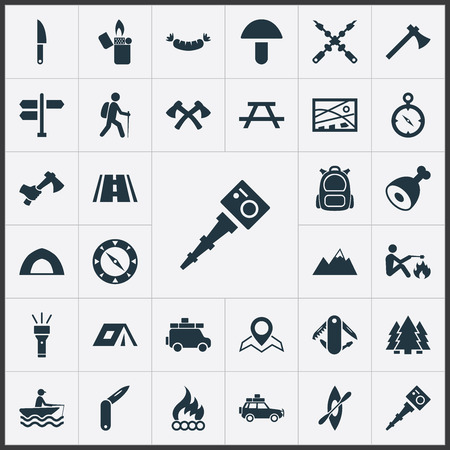 Elements Tent;, Swiss Army Knife, Barbecue And Other Synonyms Journey, Equipment And Table.  Vector Illustration Set Of Simple  Icons. Illustration