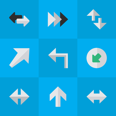 Elements Southwestward, Orientation, Cursor And Other Synonyms Northwestward, Import And Forward.  Vector Illustration Set Of Simple Indicator Icons.