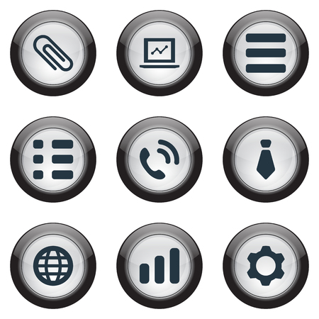 Vector Illustration Set Of Simple Interaction Icons. Elements Tasks, Cogwheel, Cravat And Other Synonyms List. Çizim