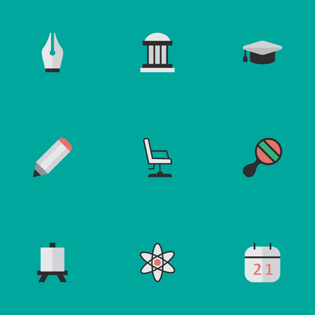 Vector Illustration Set Of Simple Education Icons. Elements Racket, Date Block. Illustration