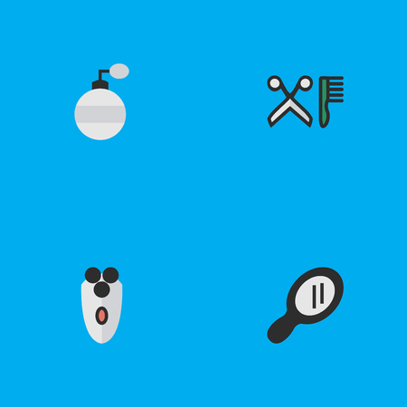 Illustration Set Of Simple Hairdresser Icons.