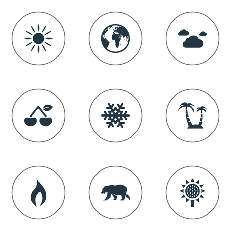 Vector Illustration Set Of Simple Ecology Icons. Elements Berry, Polar Bear, and more.