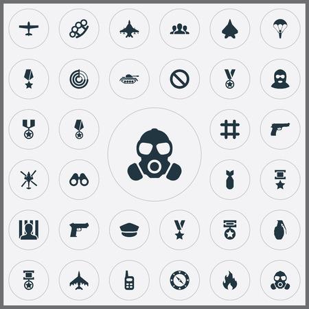 Elements Plane, Terrorist, Awarded e altri sinonimi Reward, Transport And Bang. Illustrazione vettoriale Set di icone semplici di battaglia. Archivio Fotografico - 83792146
