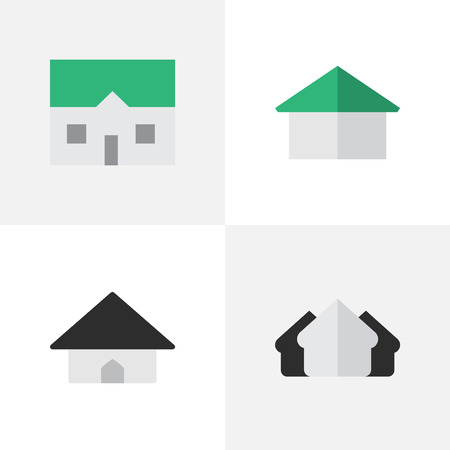 Illustration Set Of Simple Property Icons. Elements House, Property, Base And Other Synonyms Estate, Property And Home.