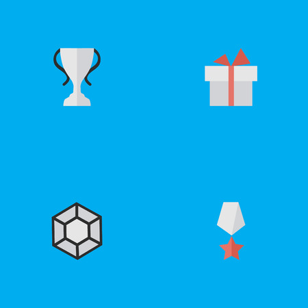 Illustration Set Of Simple Prize Icons. Elements Premium, Champion, Brilliant And Other Synonyms Star, Prize And Diamond.
