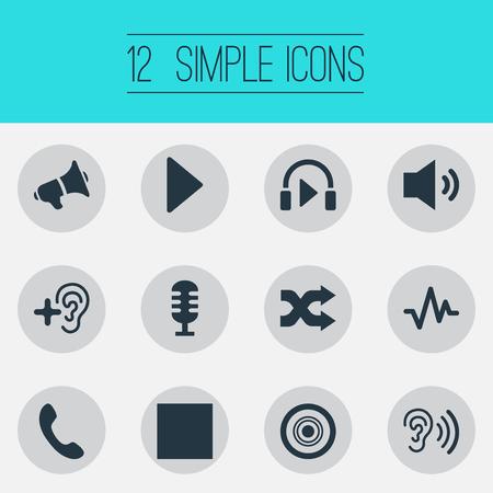 単純な音楽アイコンのイラスト セット。電話やその他の類義語音楽の要素ヘッドフォン レコーダーと聞く。