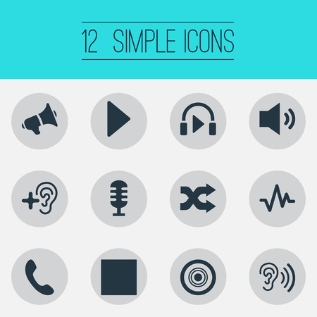 Illustration Set Of Simple Music Icons. Elements Headphone, Up, Telephone And Other Synonyms Music, Recorder And Listen. Illustration