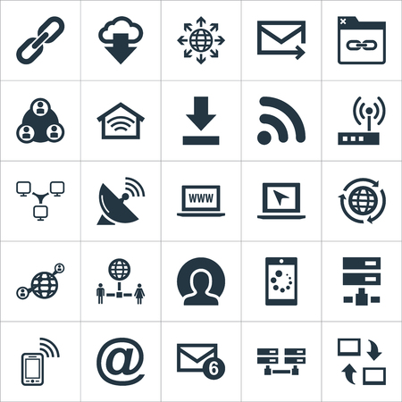 Elements Connection, Server, Loading And Other Synonyms Symbol, Sputnik And Chain.  Vector Illustration Set Of Simple Browser Icons.