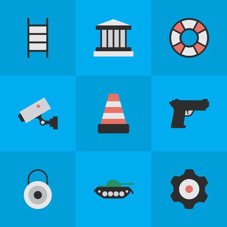 Elements Cogwheel, griglia, supervisione e altri sinonimi Ingranaggi, scale e armi. Illustrazione Vettoriale Set Di Simboli Criminali Semplice. Archivio Fotografico - 83792149