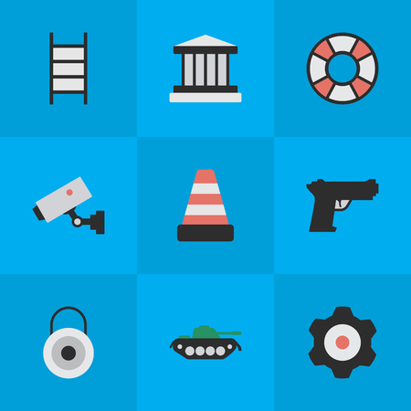 Elements Cogwheel, Grille, Supervision And Other Synonyms Gear, Stairs And Weapon.  Vector Illustration Set Of Simple Criminal Icons. 向量圖像