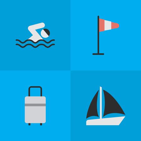Elementen bagage, vlag, schoener en andere synoniemenzee, schoener en wind. Vectorillustratiereeks Eenvoudige Vakantiepictogrammen. Stock Illustratie