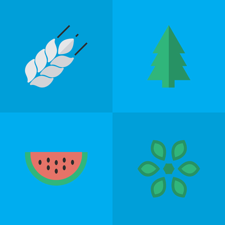 Elements Melon, Corn, Tree And Other Synonyms Wheat, Pot And Berry.  Vector Illustration Set Of Simple Garden Icons. Stok Fotoğraf - 83792153