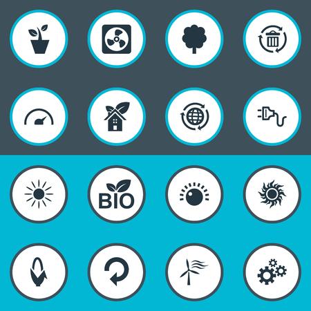 要素太陽エネルギー、Tachometr、観葉植物、他の同義語の再利用、日光とリサイクル。 単純なエネルギー アイコンのベクター イラスト セット。
