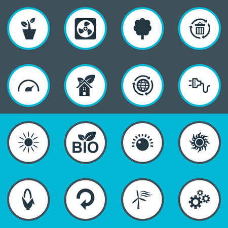 corny: Elements Solar Energy, Tachometr, Houseplant And Other Synonyms Reuse, Sunlight And Recycle.  Vector Illustration Set Of Simple Energy Icons.