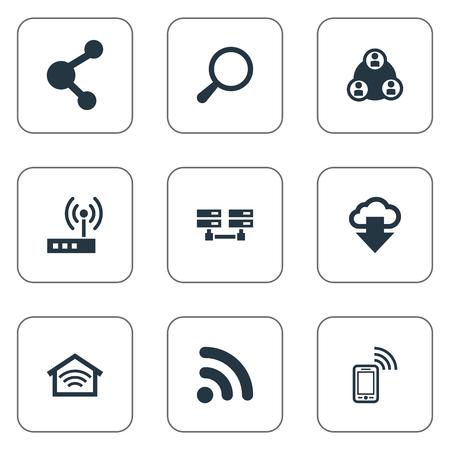 요소 무선 연결, 돋보기, 데이터 센터 및 기타 동의어 연결, 데이터베이스 및 무선. 벡터 일러스트 레이 션 간단한 웹 아이콘의 집합입니다.