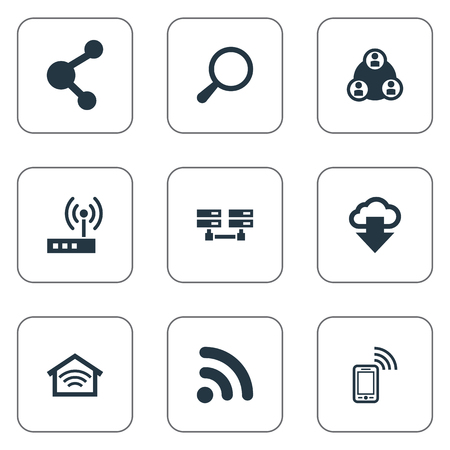 Elements Wireless Connection, Magnifier, Data Center And Other Synonyms Connection, Database And Wireless.  Vector Illustration Set Of Simple Web Icons.